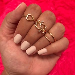NEW Heart and Leaves 4-Piece Midi/Knuckle Ring Set